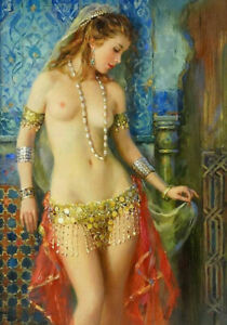 LMOP1004 A beautiful naked woman with a necklace oil painting on canvas art