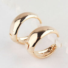 """Pretty 9k Yellow Gold Filled Smooth Shiny 7/8"""" / 20mm Round Circle Hoop Earrings"""