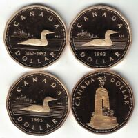 4 X CANADA IMPAIRED PROOF LOONIE DOLLARS ELIZABETH COINS 1992 1993 1994 WAR 1995