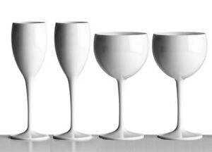 White unbreakable reusable champagne & gin glasses Valentine's Day special