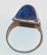 VINTAGE STERLING SILVER LAPIS LAZULI BULLET CAB BUTTERFLY DESIGNS RING SIZE 4.5