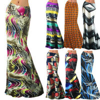 Women High Waisted Skirt Bodycon Boho Long Maxi Evening Party Beach Skirt L
