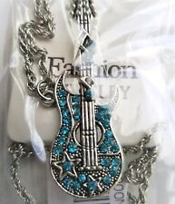 Guitar Necklace Blue Crystal stones