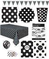 MIDNIGHT BLACK POLKA DOT Partyware Range (SPOTS)Tableware Balloons & Decorations