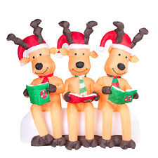 Three Large Illuminated Reindeers Reading with Christmas Hats 150cm Airblown