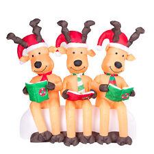 Drei große beleuchtete Rentiere lesend mit Weihnachtsmützen 150cm Airblown