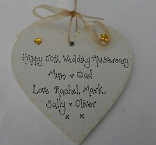Personalised 50th Golden Wedding Anniversary wooden heart gift 10cm