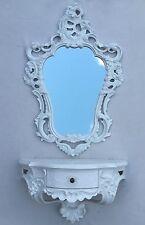 Wandspiegel Weiß Oval + Wandkonsole mit Schublade Barock Badspiegel 50X76