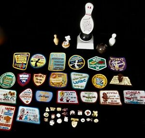 women's bowling pins, patches 1960-1990 and pill box lot of 48 items