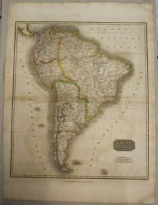SOUTH AMERICA 1814 JOHN THOMSON LARGE ANTIQUE ORIGINAL COPPER ENGRAVED MAP