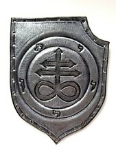 LEVIATHAN CROSS SHIELD ANTIQUE SILVER COLOR GENUINE LEATHER  PATCH