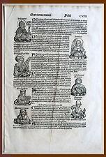 Inkunabel, Schedel Weltchronik, Pag. CXIIII - Holzschnitt 1493, Graphik Grafik