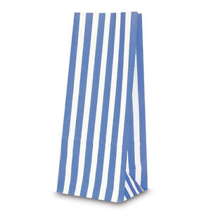 Candy stripe PAPER BAGS BLUE &  WHITE sweets bags GIFT, PARTY, SWEETS WEDDING 20