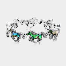 Horse Bracelet Abalone Shell Stretch Bangle Country Farm Cowboy Jewelry SILVER