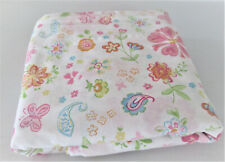 Pottery Barn Kids Butterfly & Floral Full Flat Sheet Pink Blue Green White