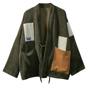 Men Corduroy Kimono Cardigan Jacket Japanese Coat Patchwork Retro Button Casual