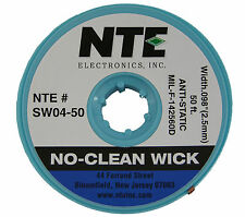 NTE Electronics SW04-50 50' Solder No-Clean Wick/Braid for Removal Anti-Static