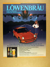1987 Porsche 911 red car photo Lowenbrau beer Sweepstakes vintage print Ad