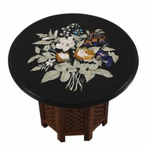 """24"""" Marble Table Top semi precious stones inlay With Wooden Stand"""
