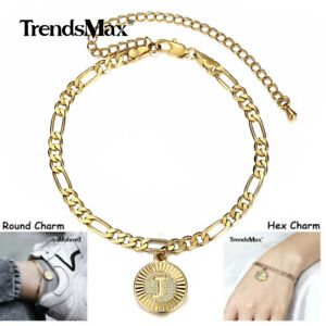 Figaro Link Initial Anklet Bracelet Stainless Steel Hex/Round A to Z Foot Chain