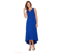 Isaac Mizrahi Womens Regular Lace-Up Neck Hi-low Hem Maxi Dress 1X Plus Size QVC