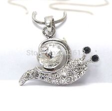 FREE GIFT BAG Silver Plated Rhinestone Crystal Snail Necklace Chain Jewellery
