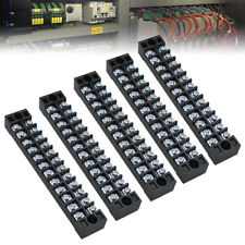 5pcs 15A 12 Positions Dual Rows Covered Barrier Screw Terminal Block Strip Wire