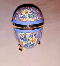 Halcyon Days Egg Shaped Trinket Box Easter 2004 enamel Lillies w stand large