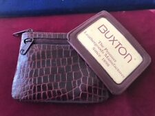 Vintage Leather Coin Purse Wallet Buxton Key Ring Plum Purple Textured Faux Skin