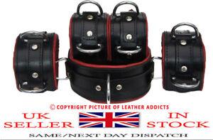 Bondage 5 Pieces Restraints Set Top Grain RED & Black Leather