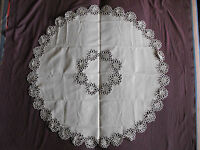 #1093  Beautiful Vintage Hand Made Linen Tablecloth  114cm(45'')