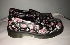 "Womens Doc Marten ""Addy"" Black/Pink Floral Print Leather Loafers Sz 37/US 6"