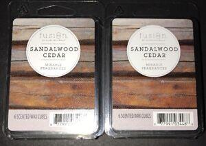 SCENTSATIONALS FUSION Scented Wax Cubes SANDALWOOD & CEDAR / 2 Packs / 2.5 Oz Ea