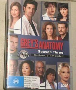 Grey's Anatomy : Season 3 (DVD, 2007, 7-Disc Set) Very Good Condition R4