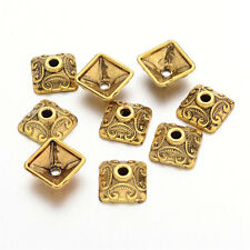 50pcs Gold Plated Vintage Square Bead Caps Findings Tibetan Style 10x10x5mm