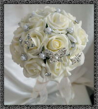 Bridesmaid Posy Bouquet With Diamante and Silver Butterflies