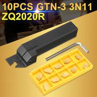 10Pcs GTN-3 SP300 Inserts w/ 20mm Parting Grooving Cut Off Tool Holder