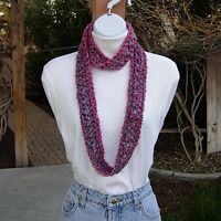 Small Skinny Summer INFINITY Loop SCARF Colorful Crochet Knit Pink Purple Gray