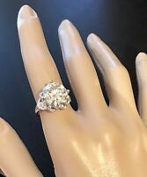 4.10CT!Huge Moissanite /Natural  Diamonds, Solid 14K White  Gold Solitaire Ring