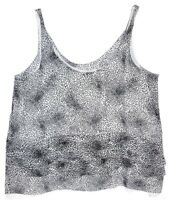Club Monaco Womans Sleeveless Geometric Print Shirt Black / White Size M