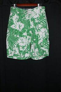 Tommy Hilfiger Swim Trunks Mens Green Hibiscus and Palm Print Size L