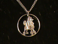 Us Quarter cut with a Poodle as a Necklace with a 24 inch Silver Tone Chain