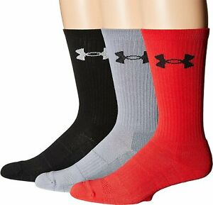Under Armour Adult Elevated Performance Crew Socks, 3-Pairs Men Size Large