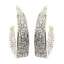CLIP ON HOOP EARRINGS - gold plated hoops with cubic zirconia crystals - Mila