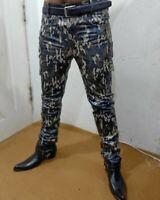 Men's Leather Biker Pants Jeans camouflage Lederhosen Lederjeans BLUF