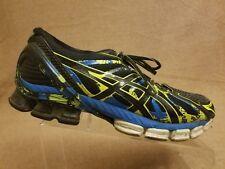 Asics T4A1N Gel Sendai 2 Men Black Blue Athletic Sneaker Running Shoes Size 11.5