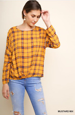 BLUHEAVEN BY UMGEE Size L Mustard Mix Long Sleeves Front Gathered Detail Top