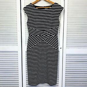 Grace Hill Bodycon Dress Sz 12 Black White Boat Neck Striped Back Zip Corporate