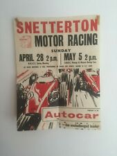 1960S SNETTERTON MOTOR RACING OFFICIAL EVENT POSTER