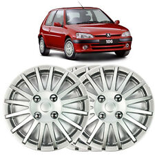 """4 X 13"""" SOLID SILVER PEUGEOT 106 WHEEL TRIM COVER 1991 TO 2004"""
